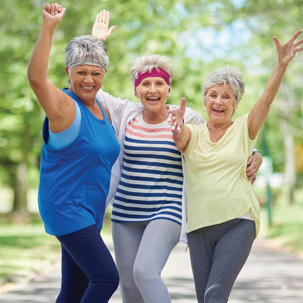 Three Women on a walking path